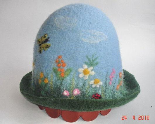 """Банные принадлежности ручной работы. Ярмарка Мастеров - ручная работа. Купить Банная шапка """"Лето"""". Handmade. Валяная шапка"""