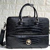 Сумки и аксессуары handmade. Livemaster - original item Bag-briefcase made of crocodile leather, in black.. Handmade.
