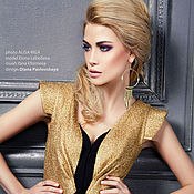 Одежда ручной работы. Ярмарка Мастеров - ручная работа Платье золотого цвета с баской.. Handmade.
