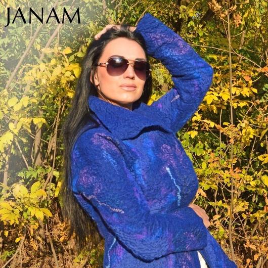 """Верхняя одежда ручной работы. Ярмарка Мастеров - ручная работа. Купить Пальто валяное """"Lady in blue"""". Handmade. Абстрактный"""