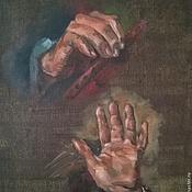 Холст на картоне Этюд рук