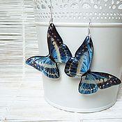 Украшения handmade. Livemaster - original item Transparent Blue Butterfly Earrings Blue White Boho Epoxy. Handmade.