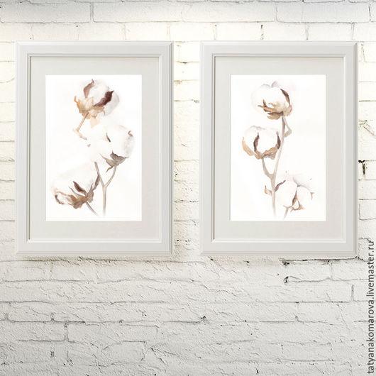 """Картины цветов ручной работы. Ярмарка Мастеров - ручная работа. Купить Картины акварелью """"Хлопок"""". Handmade. Белый, картина для интерьера"""