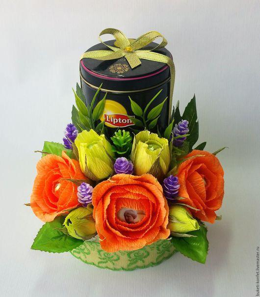 Букеты ручной работы. Ярмарка Мастеров - ручная работа. Купить Оформление чая конфетными цветами.. Handmade. Букет из конфет