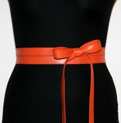 """Пояса, ремни ручной работы. Кожаный пояс-лента """"Sash Orange"""". Кожаные пояса и браслеты Lanita Design. Ярмарка Мастеров."""
