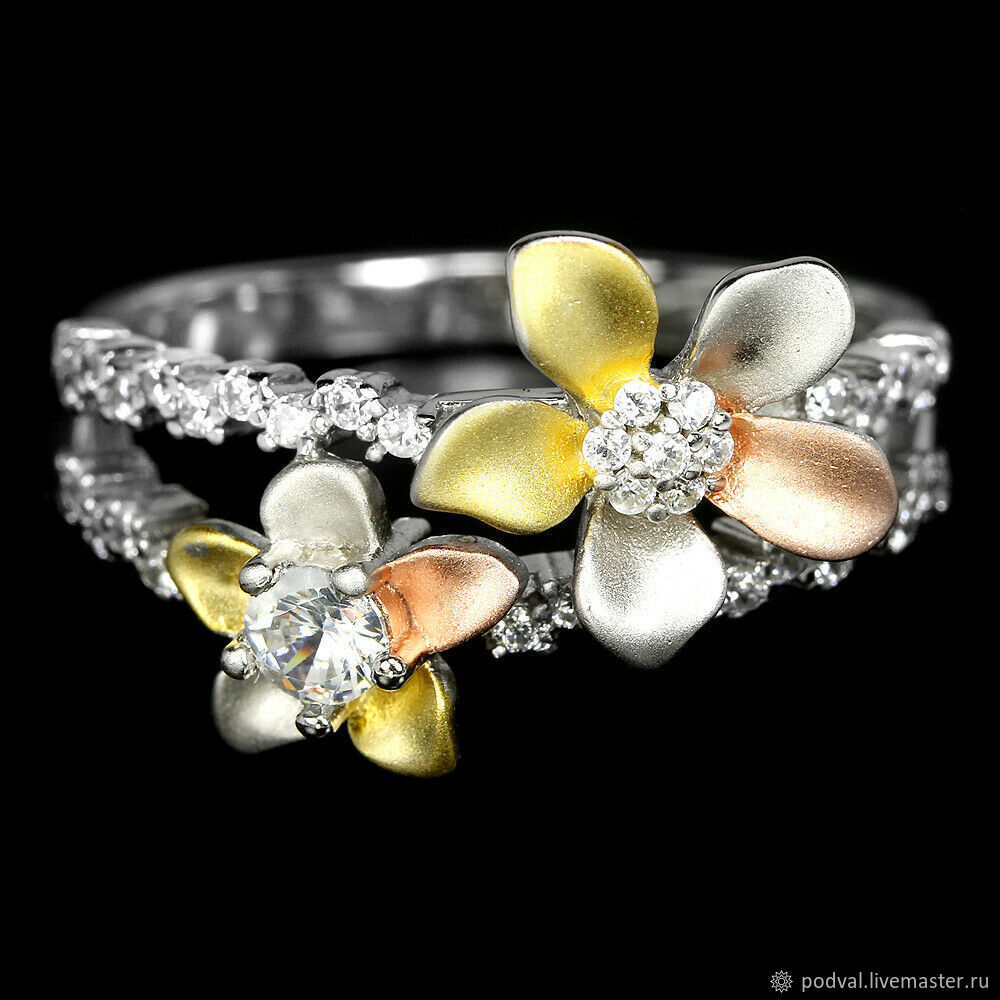 Designer ring, tricolor silver 'Parade of flowers' (p 18), Rings, Korolev,  Фото №1
