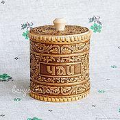 """Русский стиль handmade. Livemaster - original item Берестяной туесок для чая """"Морозко"""" 10х11. Баночка из бересты.. Handmade."""