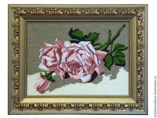 Прихожая ручной работы. Ярмарка Мастеров - ручная работа. Купить Картина вязанная из пряжи цветы  Розы   20 х 30 см.. Handmade.