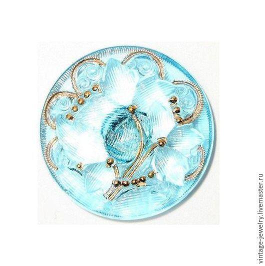 Шитье ручной работы. Ярмарка Мастеров - ручная работа. Купить Чешская пуговица 27 мм, богемское стекло,винтаж,позолота,голубая,цветы. Handmade.