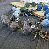 Украшения handmade. Livemaster - original item Long necklace Designer Chain Textile Boho Beige Green. Handmade.