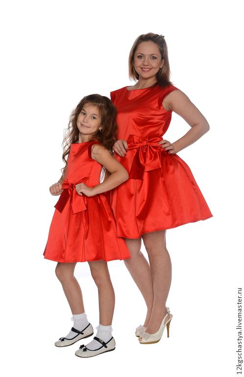 """Платья ручной работы. Ярмарка Мастеров - ручная работа. Купить Одинаковые платья для мамы и дочки """"Конфетки"""", комплект. Handmade."""