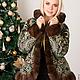 Верхняя одежда ручной работы. Ярмарка Мастеров - ручная работа. Купить Куртка из павловопосадского платка Морозко с норкой орех. Handmade.
