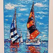 Картины и панно handmade. Livemaster - original item Two sailboats oil painting. Handmade.