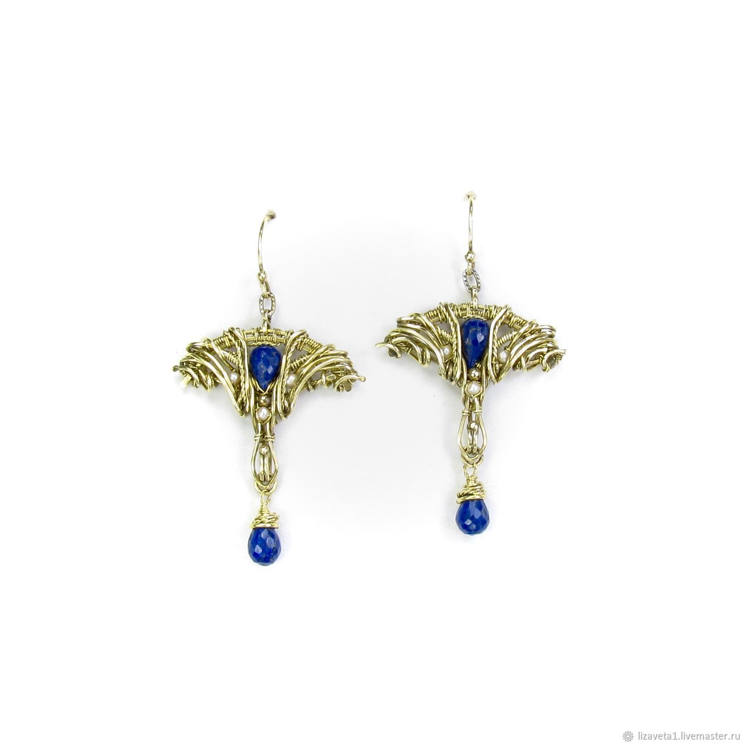 'Art Nouveau' earrings brass with lapis lazuli and pearls, Earrings, Moscow,  Фото №1