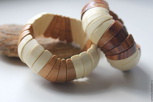 Браслеты ручной работы. Ярмарка Мастеров - ручная работа. Купить Браслет деревянный, фигурный (BR0032). Handmade. Комбинированный, дерево натуральное
