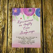 Свадебный салон ручной работы. Ярмарка Мастеров - ручная работа Акварельные приглашения в конверте.. Handmade.