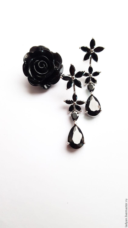 серьги с черными камнями, серьги черная роза, серьги черные, серьги классические, серьги необычные, стильные серьги, вечерние серьги