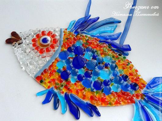 Животные ручной работы. Ярмарка Мастеров - ручная работа. Купить Рыба - панно из стекла. Фьюзинг. Handmade. Синий, рыбалка, рыболов