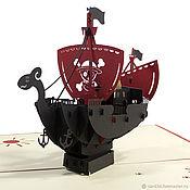 Открытки ручной работы. Ярмарка Мастеров - ручная работа Пиратский корабль. Handmade.