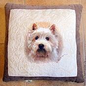 Для дома и интерьера ручной работы. Ярмарка Мастеров - ручная работа Подушка с собакой Вести. Handmade.
