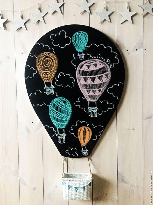 """Детская ручной работы. Ярмарка Мастеров - ручная работа. Купить Меловая доска """"Воздушный шар"""". Handmade. Чёрно-белый"""