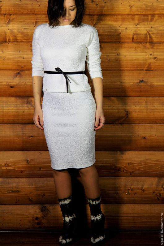 """Костюмы ручной работы. Ярмарка Мастеров - ручная работа. Купить Костюм: юбка карандаш и кофточка """"Беле Розы"""". Handmade. Белый"""