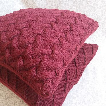 Textiles handmade. Livemaster - original item The pillow is knitted from wool mixture Intricacies. Handmade.