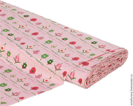 Шитье ручной работы. Ярмарка Мастеров - ручная работа. Купить арт. 70582 Немецкая ткань Скворечник розовый/зеленый. Handmade.