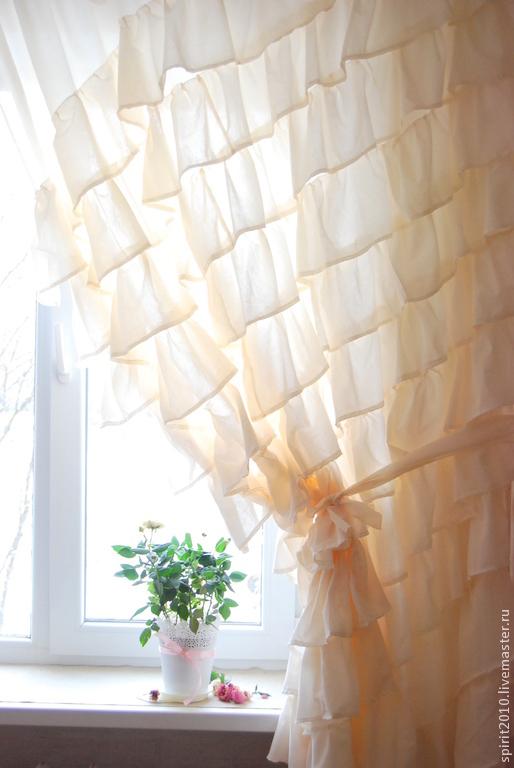 Текстиль, ковры ручной работы. Ярмарка Мастеров - ручная работа. Купить Штора в стиле бохо, цвет молочный. Handmade. Бежевый