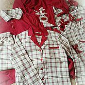 Халаты ручной работы. Ярмарка Мастеров - ручная работа Пижама для мамы или для папы. Из семейного набора для всей семьи.. Handmade.