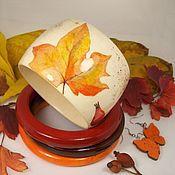 Украшения handmade. Livemaster - original item Bracelets jewelry set-wood Autumn decoupage jewelry. Handmade.