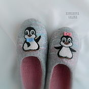 Обувь ручной работы handmade. Livemaster - original item Slippers: Little penguins. Handmade.