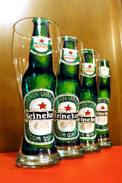 Бокалы, стаканы ручной работы. Ярмарка Мастеров - ручная работа. Купить Бокалы Henineken. Handmade. Пиво, краски запекаемые для стекла