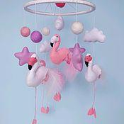 """Мобиль в кроватку """" Королевские фламинго"""""""
