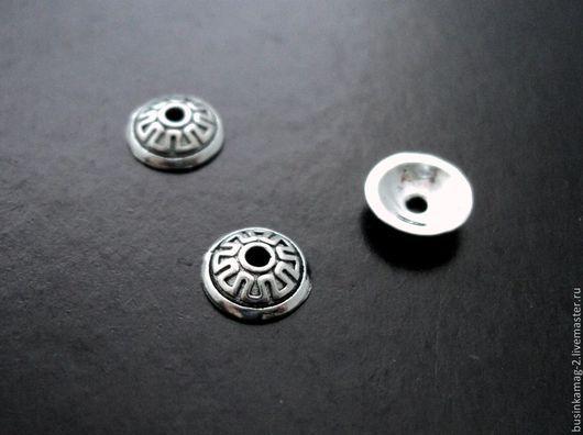 Для украшений ручной работы. Ярмарка Мастеров - ручная работа. Купить Шапочки серебро 925 проба литые с орнаментом, 6мм. Handmade.