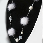 Украшения handmade. Livemaster - original item Necklace with natural fur. White mink. Handmade.