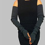 Аксессуары ручной работы. Ярмарка Мастеров - ручная работа Митенки рукава вязаные эластичные Длинные митенки купить. Handmade.