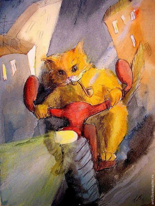 Подарки для мужчин, ручной работы. Ярмарка Мастеров - ручная работа. Купить Картина Мотокот. Рыжий кот и красный мотоцикл Акварель. Handmade.