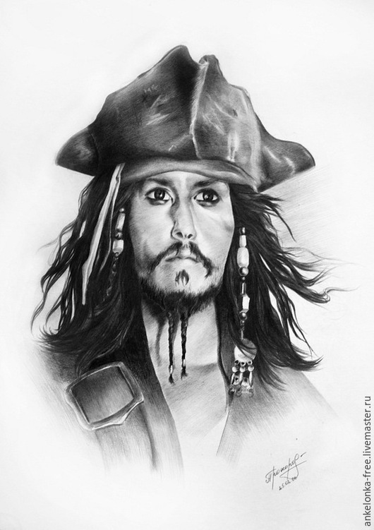 """Люди, ручной работы. Ярмарка Мастеров - ручная работа. Купить Портрет по фото""""Пират Карибского моря"""". Handmade. Серый, портрет по фото"""