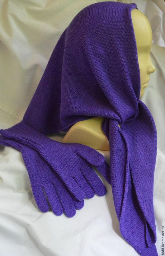 Комплекты аксессуаров ручной работы. Ярмарка Мастеров - ручная работа. Купить Косынка и перчатки вязаные. Handmade. Фиолетовый, кашемир