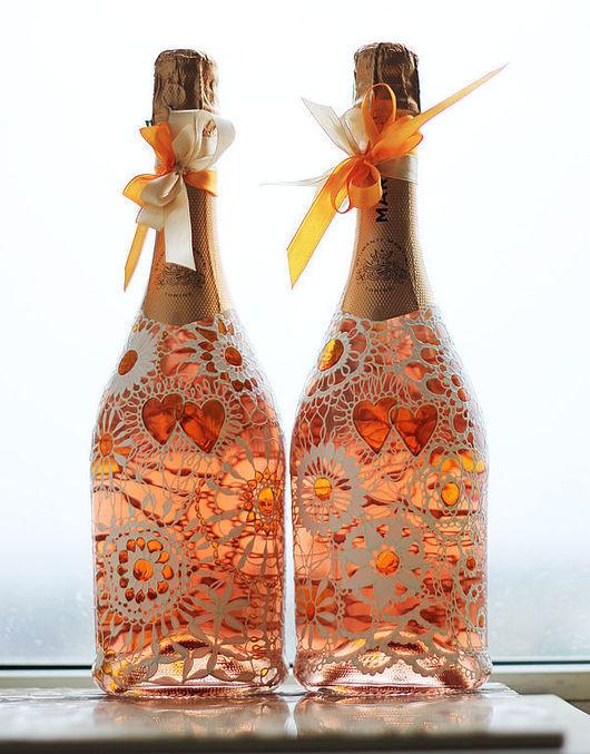 """Свадебные аксессуары ручной работы. Ярмарка Мастеров - ручная работа. Купить Декор свадебных бутылок """"Оранжевые сердца"""". Handmade."""