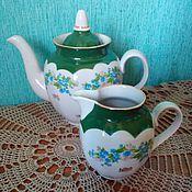 Чайники ручной работы. Ярмарка Мастеров - ручная работа Два старых друга из маминого серванта. Чайник и молочник с цветочками. Handmade.
