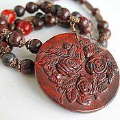 Украшения handmade. Livemaster - original item Stone rose necklace with large carved pendant Jasper breccia. Handmade.