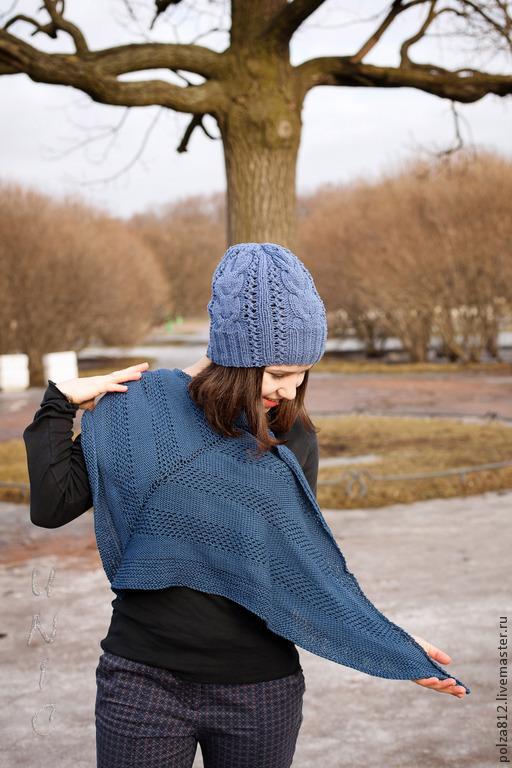 шапка, шапка синяя, шапка на весну, шапка вязаная, шапка женская, синий, небесный, васильковый, ажурная шапочка
