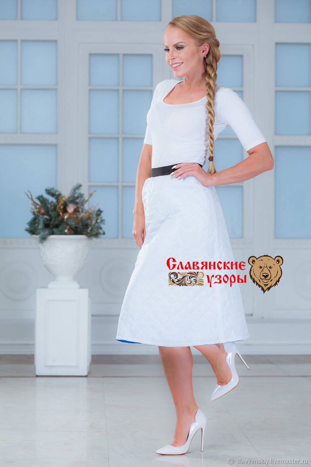 Double-sided synthetic polyester skirt with elastic blue and white, Skirts, St. Petersburg,  Фото №1