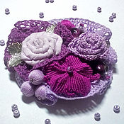 Brooches handmade. Livemaster - original item Boho brooch textile with flowers and lace-lilac/purple. Handmade.