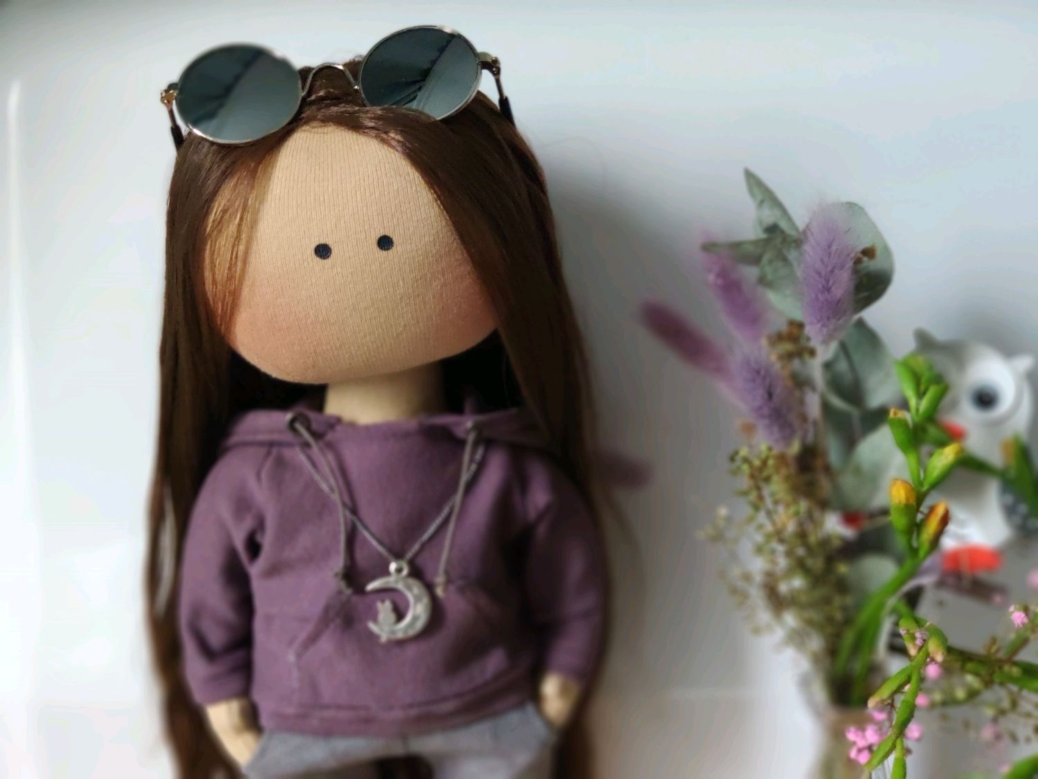 Gift for a girl textile doll for interior by photo, Round Head Doll, Moscow,  Фото №1