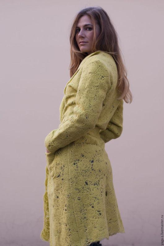 Кофты и свитера ручной работы. Ярмарка Мастеров - ручная работа. Купить Кардиган – пальто «Яблоко». Handmade. Желтый, кардиган