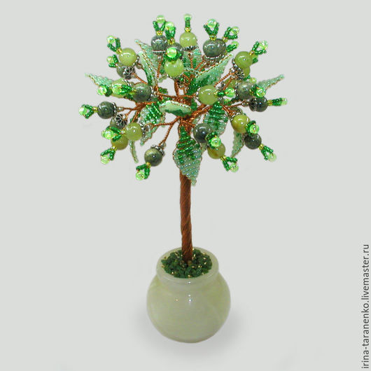 Дерево из оникса и змеевика `Цвет жизни` в вазочке из оникса