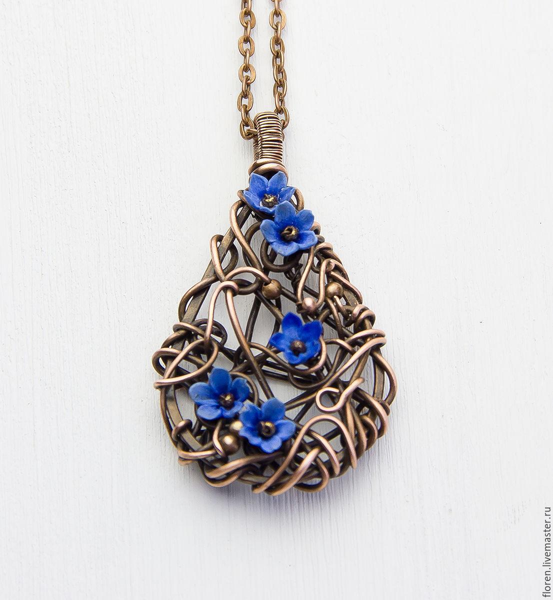 Wire wrapped pendant necklace Copper pendant Wire wrap Copper ...